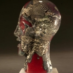 Red Oval Bust with Silver Leaf