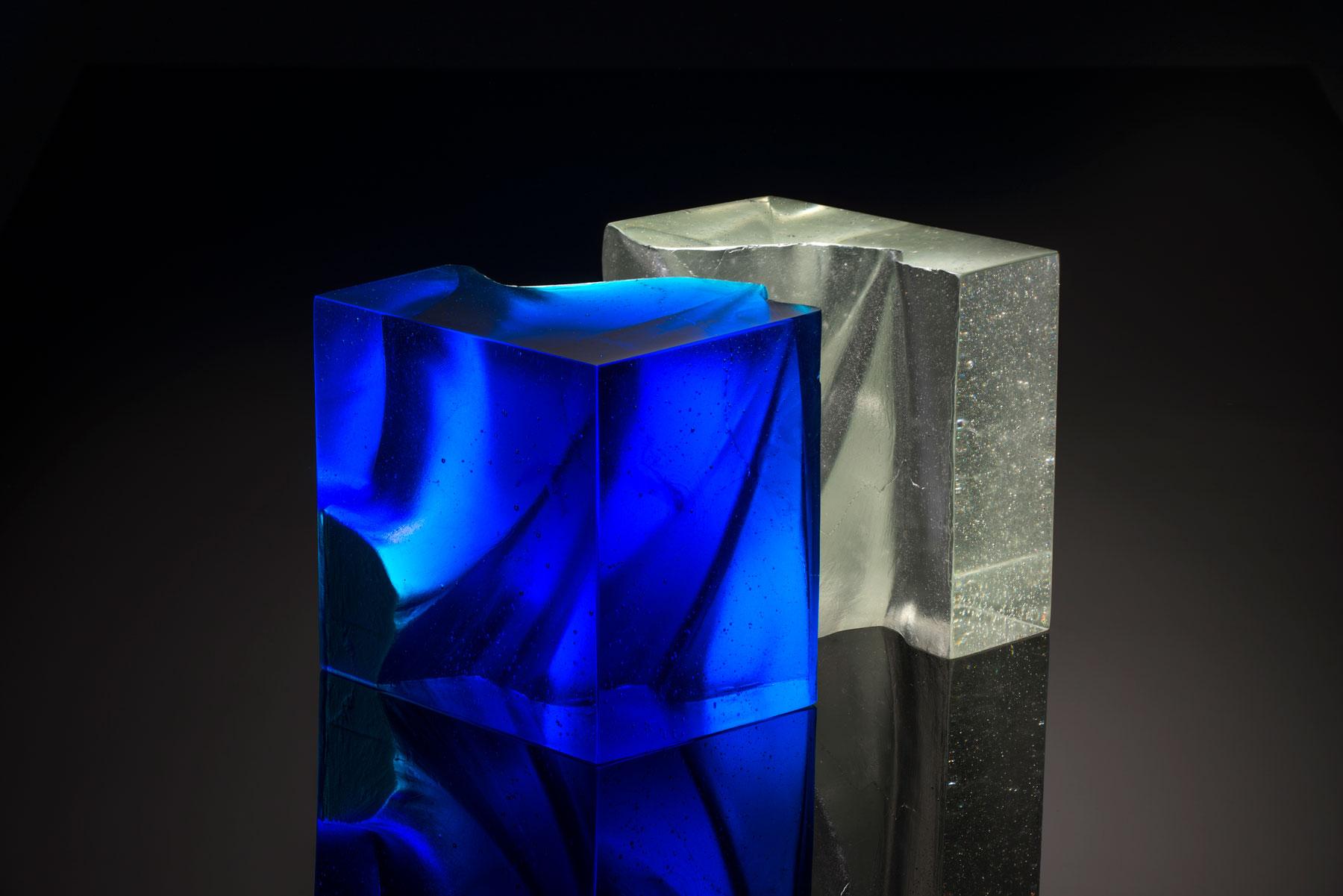 John Wood Blue Cut Cube Fine Art Glass