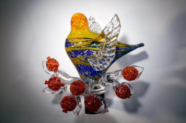 Jolley-YellowCobaltSpottedBirdwithOrangeSpottedPomegranates
