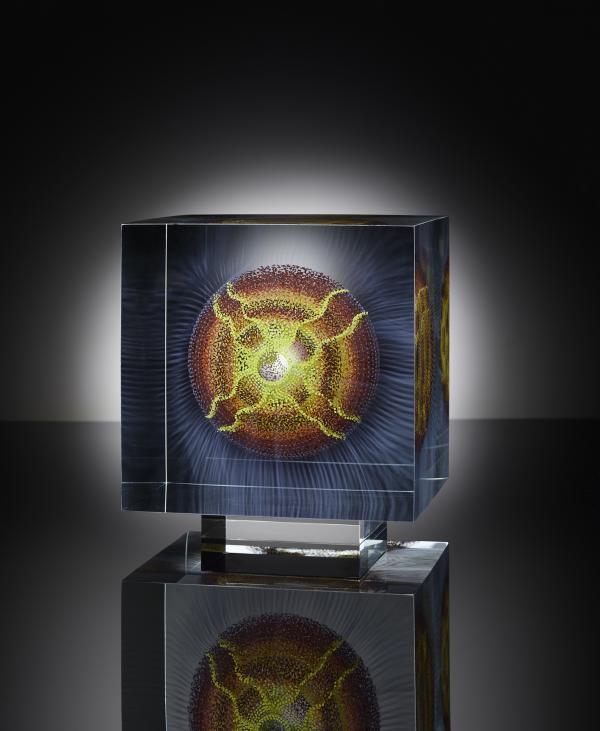 wilfried Grootens w.t.s.b.b.2021 8x8x8 inch painted,glued polished Glasspaines low