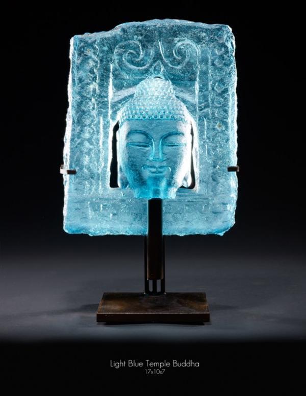 Light Blue Temple Buddha 17x10x7