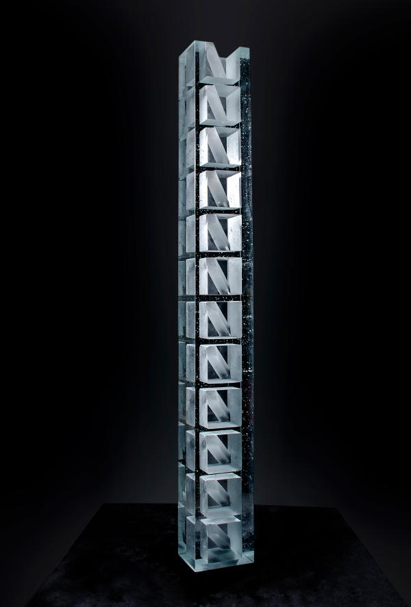 Stepan Pala,Jacobs Ladder,2019,mould-melted,cut crystal glass,194x24x19cm,weight 120kg